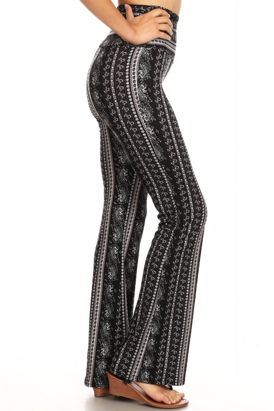 Black Grey White Paisley Print High Waist Brush Poly Flare Pants 8fp06 11 Flare Pants Pants Junior