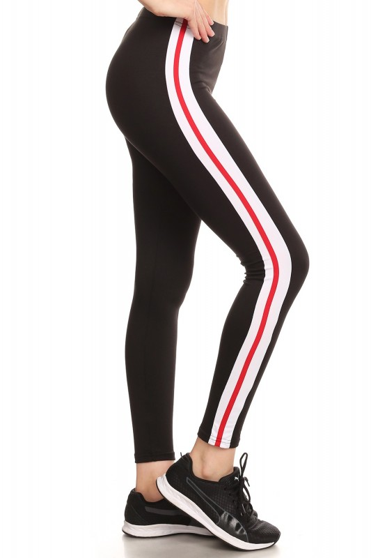 fcaf7003cd7ee SPORT BRUSH POLY LEGGING W/ CONTRAST SIDE STRIPES PANELS#8L102 ...