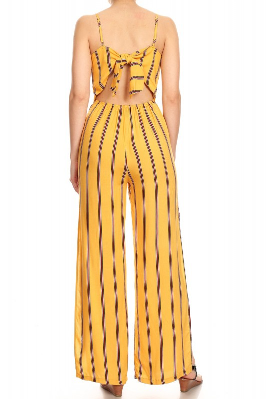 new cheap cheaper latest fashion YELLOW/WHITE/WINE STRIPE PRINT RAYON JUMPSUIT W/ OPEN TIE BACK ...
