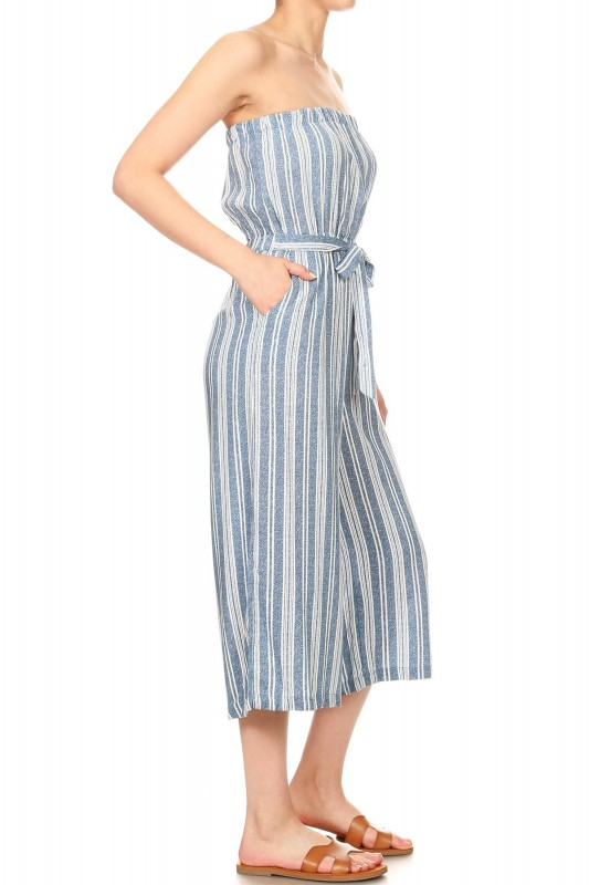 4f1b38884a5 BLUE DEN WHITE STRIPE PRINT RAYON TUBE TOP CROPPED JUMPSUIT 9JPS04 ...