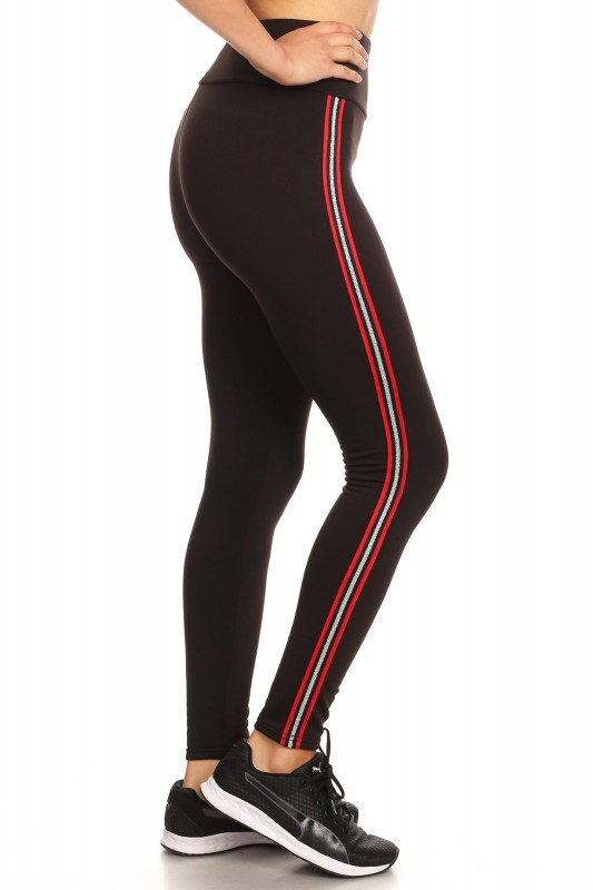 5d3521794d963 HIGH WAIST FLEECE LINED LEGGING W/ SIDE STRIPE TAPING #SG80704-34 ...