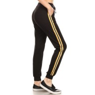 BLACK CONTRAST WB & CUFF JOGGER W/ SIDE STRIPE TWILL TAPE#8TRK09-04