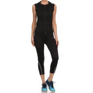 BLACK ACTIVEWEAR SLEEVELESS ZIP-UP HOODIE #AHD15N100