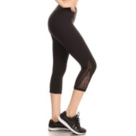 BLACK CAPRIS WITH CONTRAST MESH AND PATTERNED MESH INSERTS#YD8CP12
