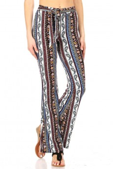 BLACK/BLUE PRINT FLARE PANTS WITH SASH#20FP01-7007