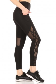 HIGH WAIST TUMMY CONTROL LEGGING W/SIDE CRISS CROSS#20L09