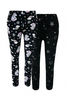 KIDS 2PACK BRUSH POLY FLEECE LINED BLACK/MULTI UNICORN & BLACK/SILVER FOIL HEART PRINT LEGGING(4/5, 6/6X)#2K8L111-04