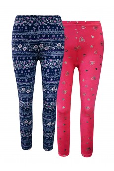 KIDS 2PACK BRUSH POLY FLEECE LINED NAVY/PINK/WHITE PAISLEY & HOT PINK/SILVER FOIL HEART PRINT LEGGING(4/5, 6/6X ) #2K8L111-05