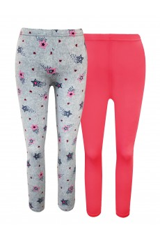 KIDS 2PK PINK/HEATHER GREY STAR PRINT BRUSH POLY FLEECE LINED LEGGING (4/5, 6/6X) #2K8L86-01