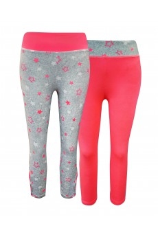 KIDS CONT. HEATHER GREY/NEON PINK/WHITE STAR PRINT HI WAIST LEGGING W STRAPS(4/5,6/6X)#2K8L88-04