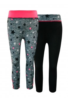 KIDS CONT. DARK HEATHER GREY/BLACK/PINK STAR PRINT HIGH WAIST LEGGING W STRAPS(4/6,6/6X)#2K8L88-05