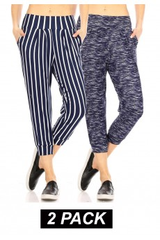 2PACK BURSH POLY HAREM CROPPED LOOSE FIT JOGGER#2P8TRK04-02