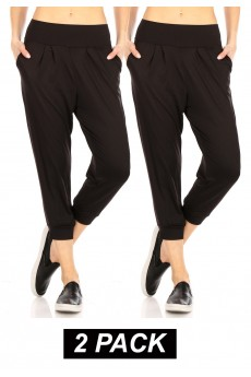 2PACK BURSH POLY HAREM CROPPED LOOSE FIT JOGGER#2P8TRK04