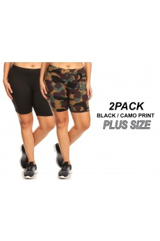 PLUS 2PACK BLACK/CAMO PRINT BRUSH POLY HIGH WAIST BIKER SHORTS# 2X9SH17-CM01