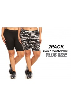 PLUS 2PACK BLACK/CAMO PRINT BRUSH POLY HIGH WAIST BIKER SHORTS#2X9SH17-CM02