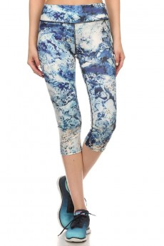 ACTIVE BLUE MARBLE PRINTED CAPRIS WITH FLAT LOCK STITCH #6ACP01-05