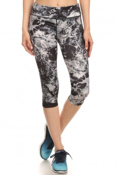 ACTIVE BLACK MARBLE PRINTED CAPRIS WITH FLAT LOCK STITCH #6ACP01-06