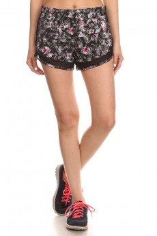 BLACK/PINK ACTIVE AZTEC GEO PRINT SHORTS WITH MESH PANELS #6ASH04-01