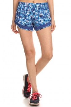 BLUE/PINK ACTIVE TIE DYE FLORAL PRINT SHORTS WITH MESH PANELS #6ASH04-02