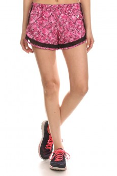 PINK/BLACK ACTIVE GEOMETRIC PRINT SHORTS WITH MESH PANELS #6ASH04-04