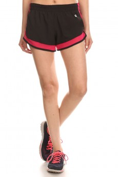 BLACK/HOT PINK ACTIVE SHORTS WITH MESH PANELS #6ASH04