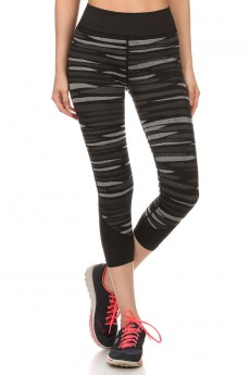 SHOSPORT BLACK/GREY ABSTRACT JACQUARD SEAMLESS CAPRIS #6CP04-02