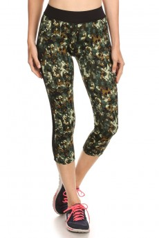 BLACK/GREEN ABSTRACT CAMO PRINT CAPRIS W/ MESH SIDE PANELS #6CP11-04