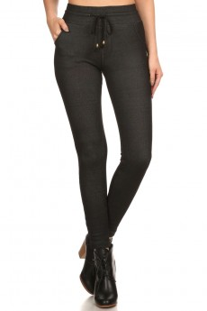 FLEECE LINED SLIM FIT JEGGING WITH WAIST TIE #6JG09