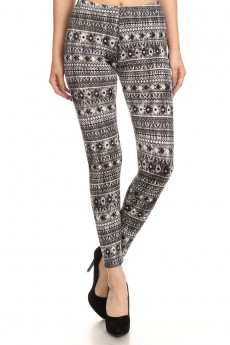 BLACK/GREY TRIBAL PRINT BRUSH POLY FLEECE LINE LEGGING #6L23-06