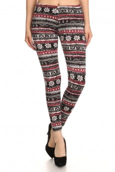 BLACK/WHITE/BURGUNDY FAIRISLE PRINT BRUSH POLY FLEECE LINE LEGGING #6L23-24