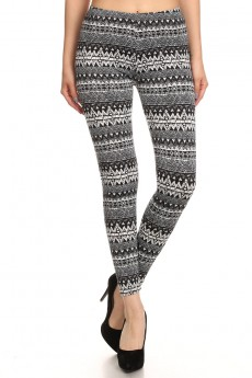 BLACK/WHITE TRIBAL PRINT BRUSH POLY FLEECE LINE LEGGING #6L23-25