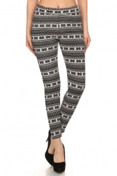 BLACK/WHITE FAIRISLE PRINTED FUR LINED LEGGING #6L27-05