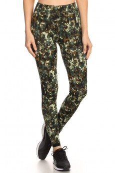 BLACK/GREEN ABSTRACT CAMO LEGGING W/ CONTRAST MESH PANELS #6L31-03