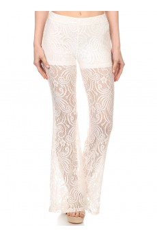 FLORAL LACE FLARE PANTS WITH SHORT LINING #6LCP01-02