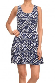 NAVY/WHITE AZTEC PRINTED KNIT DRESS W/ BACK CUTOUT #6SDS01-01