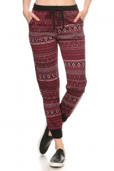 BLACK/BURGUNDY/CREAM TRIBAL PRINT FLEECE LINED JOGGER #6TRK10-12