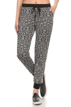 BLACK/WHITE WALLPAPER PRINT FLEECE LINED JOGGER #6TRK10-13