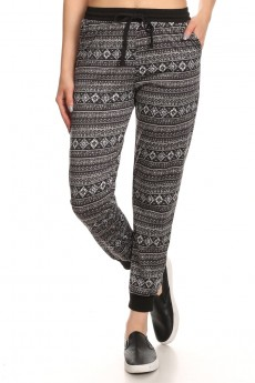 BLACK/GREY AZTEC TRIBAL PRINT FLEECE LINED JOGGER #6TRK10-15