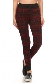BLACK/RED TRIBAL FRENCH TERRY JACQUARD SEAMLESS JOGGER #6TRK12-06