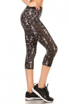 BLACK ANIMAL PRINT BRUSH POLY CAPRIS W/ MESH SIDE PANELS #7CP11-02