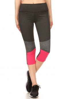 COLOR BLOCK CAPRIS WITH BACK MESH PANEL#7CP13