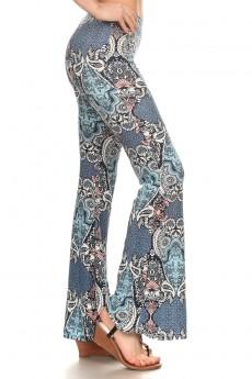 BLUE/PINK BOHEMIAN PRINTED FLARE PANTS #7FP01-03