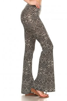 BLACK/WHITE ABSTRACT GEO PRINTED FLARE PANTS #7FP01-09
