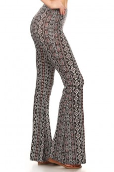 BLACK/WHITE/BURGUNDY AZTEC PAISLEY PRINTED FLARE PANTS #7FP01-11