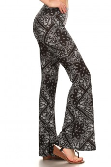 BLACK/WHITE HANKERCHIEF PRINTED FLARE PANTS #7FP01-16