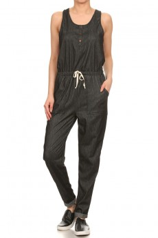 SLVLS JEGGING JUMPSUIT W/ BUTTON PLACKET & FOLD BACK CUFF #7JPS03