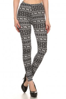 BLACK/WHITE ELEPHANT PRINT BRUSH POLY LEGGING #7L01-12