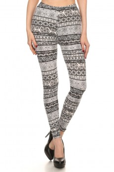 BLACK/WHITE GEO TIE DYE PRINT BRUSH POLY LEGGING #7L01-21