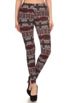 BLACK/WHITE/BURGUNDY TRIBAL PRINT BRUSH POLY LEGGING #7L01-26