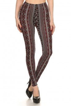 BLACK/BURGUNDY VERTICAL PAISLEY PRINT BRUSH POLY LEGGING #7L01-29